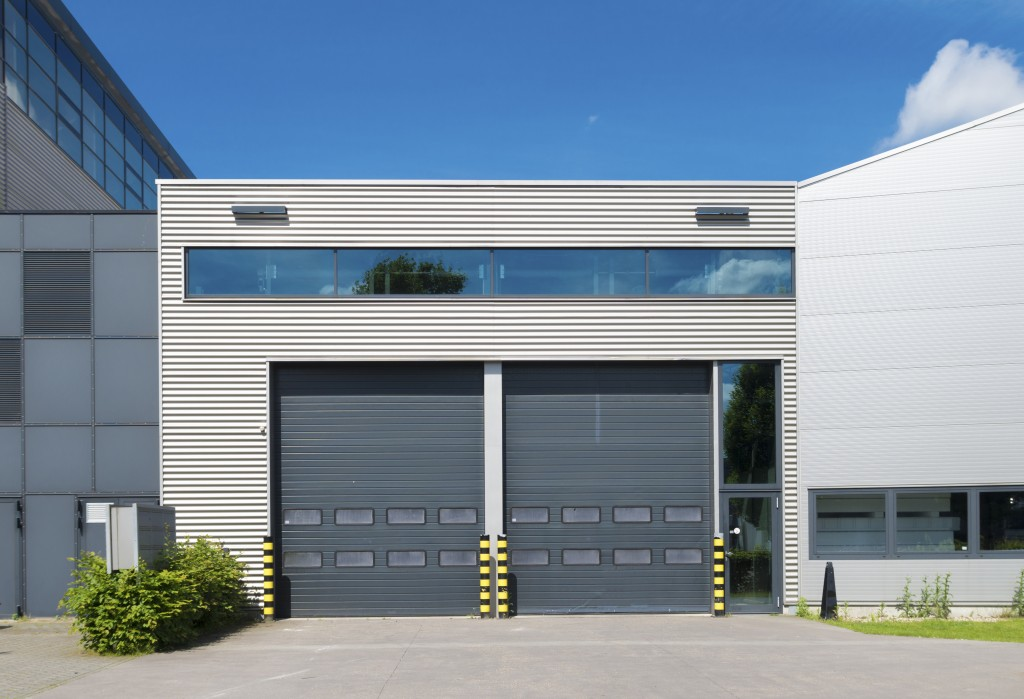 modern industrial unit with roller doors