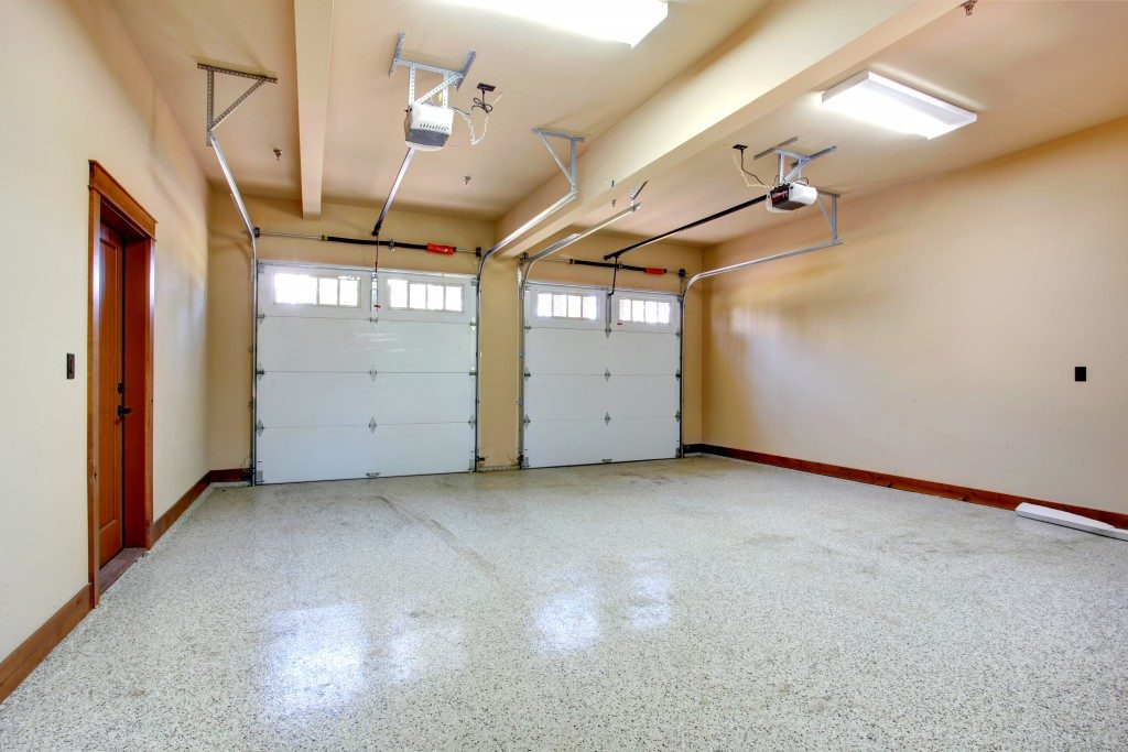 Empty garage with roller door