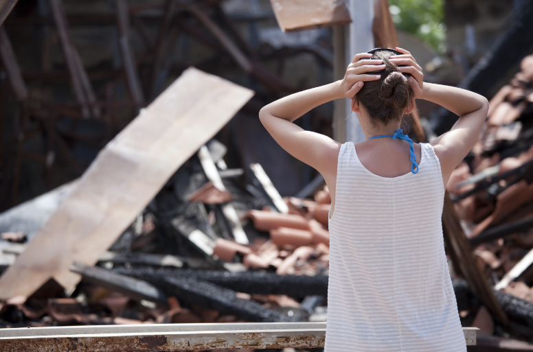 Woman worried about the earthquake damage