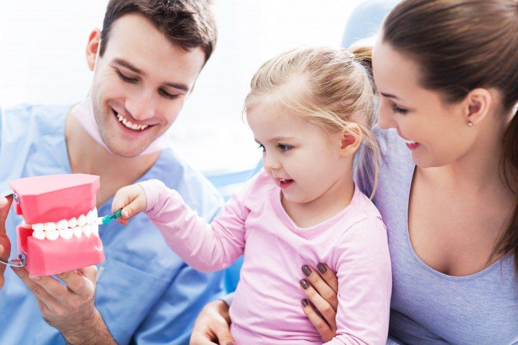 Dentist teaching young girl to brush teeth