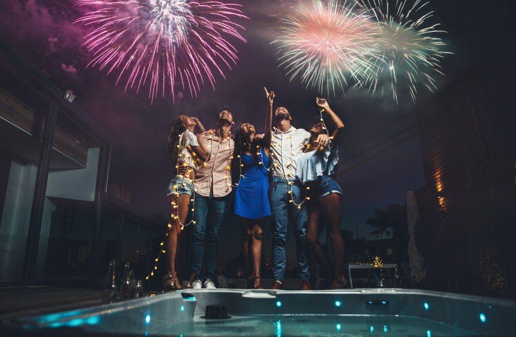People looking at fireworks