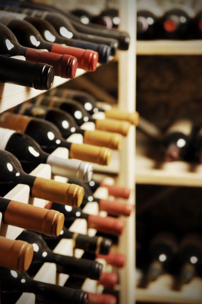 Wine bottles stored in a shelf