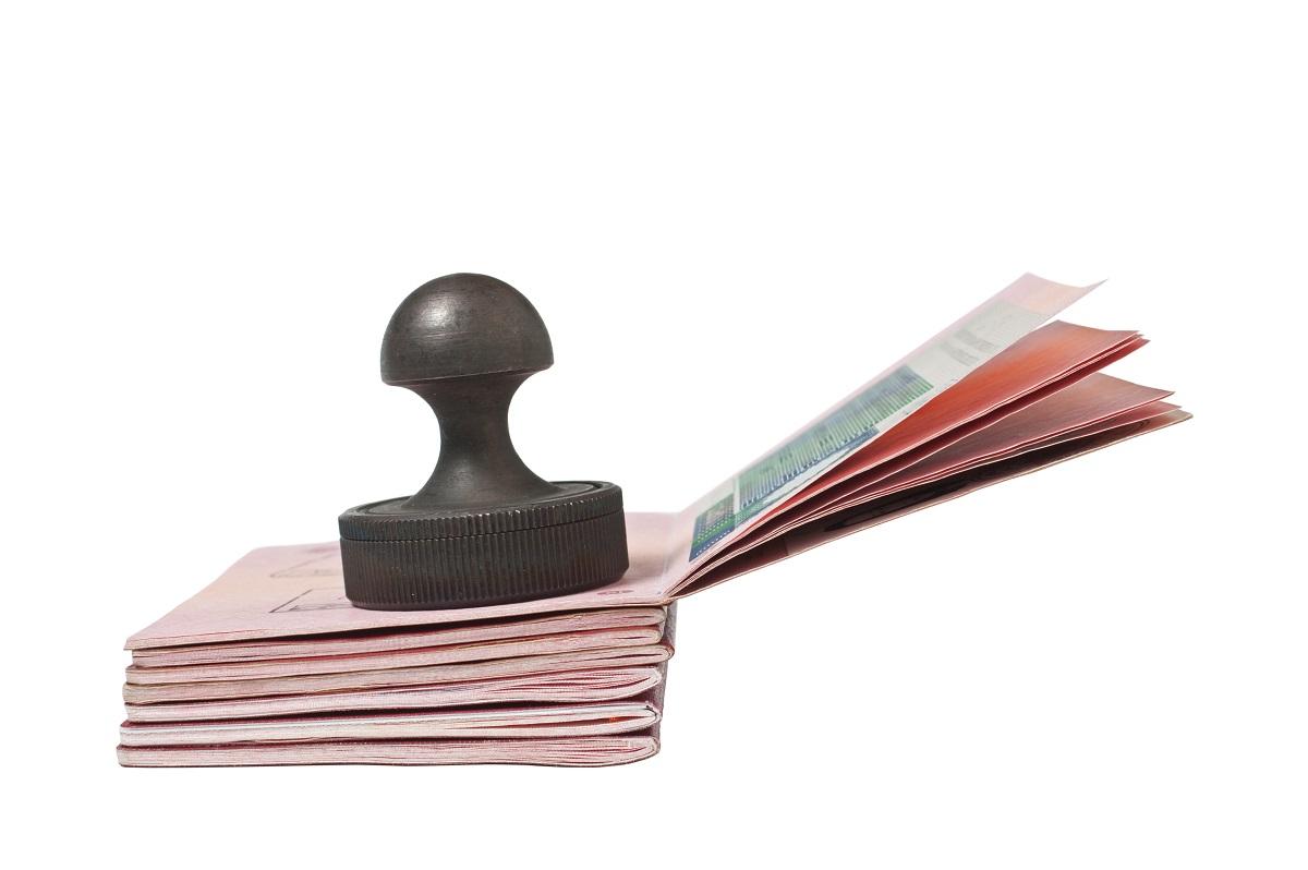 Stamp on stacked passports