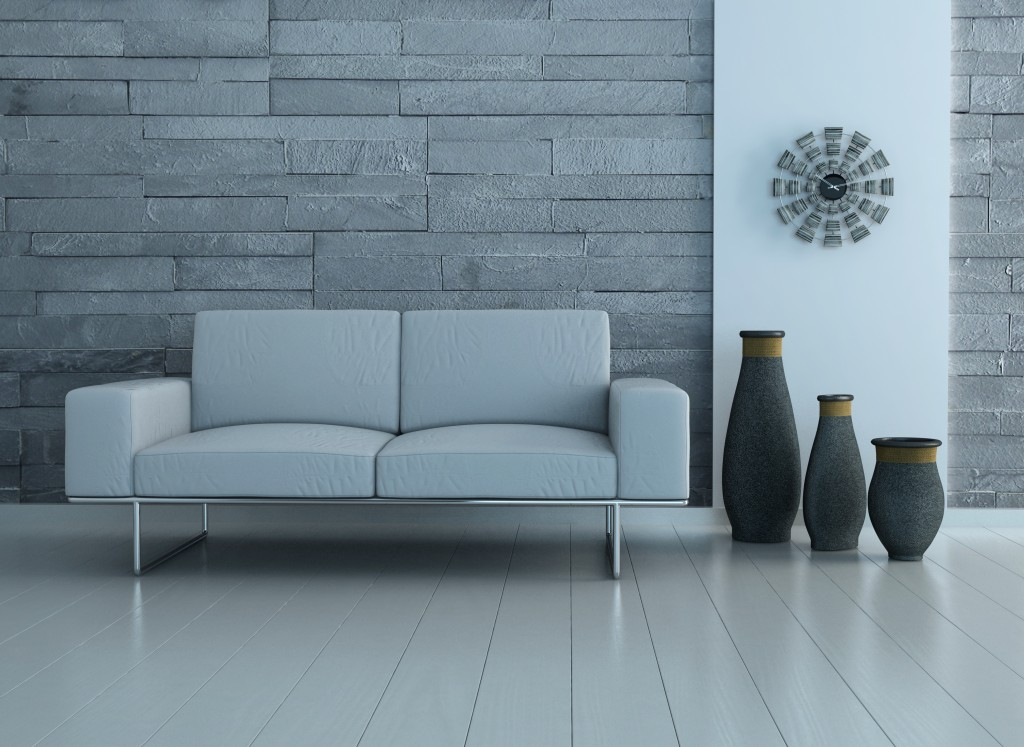 Modern living room interior with white sofa and jars