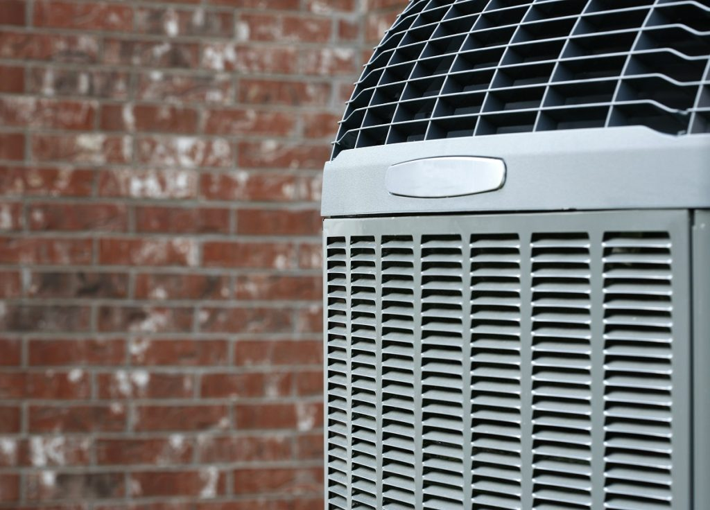close up heat pump airconditioning unit
