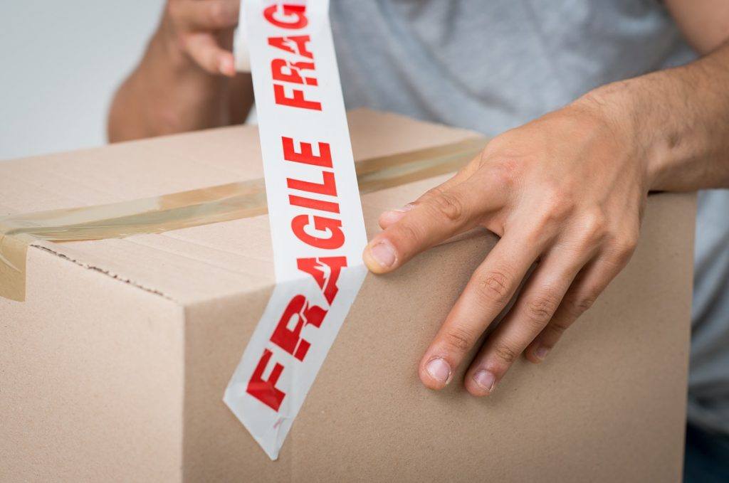 Fragile tape on box
