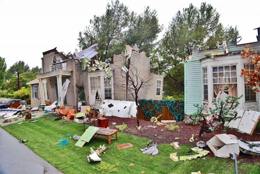 homes ravaged by a storm