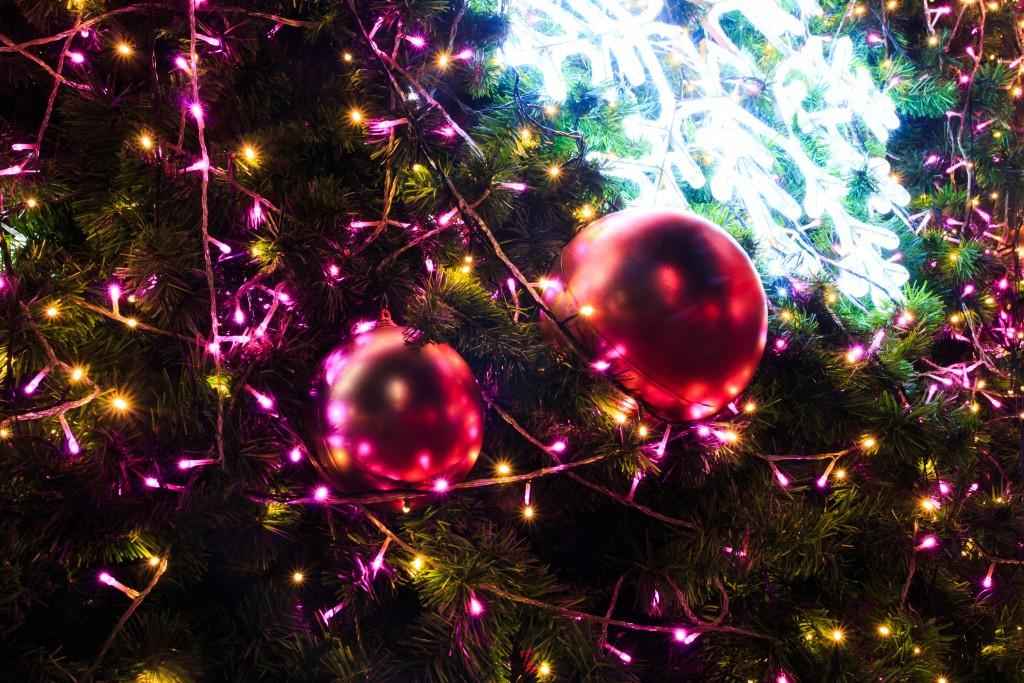 christmas lights and decor on the tree