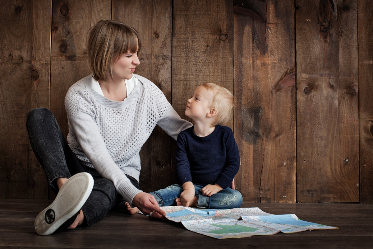 Woman with adopted child