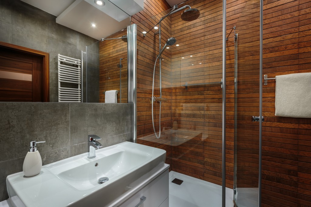 modern-designed bathroom with wooden wall