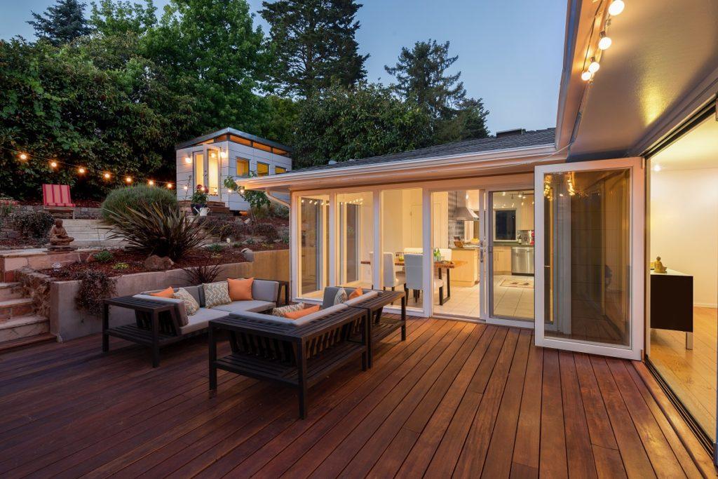 modern backyard deck