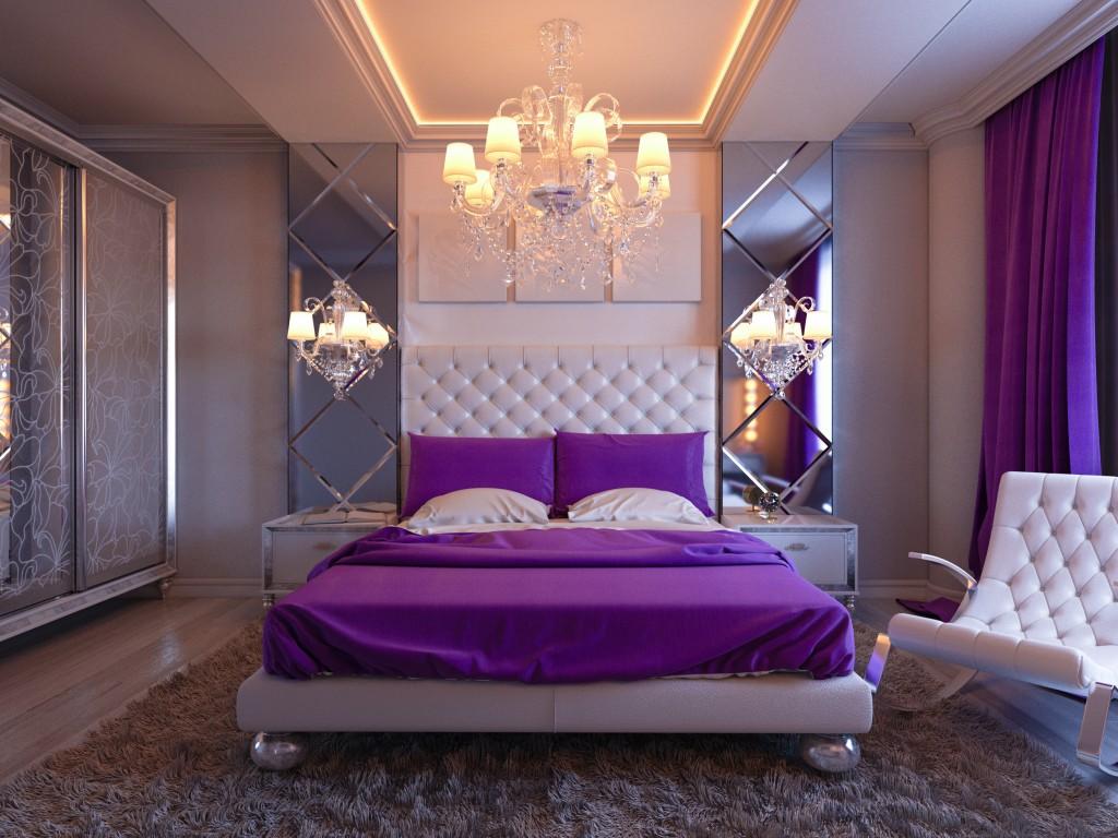 purple bedroom interior
