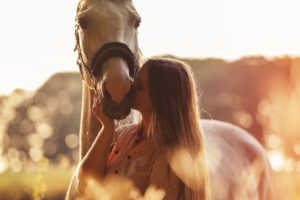 Horse with owner