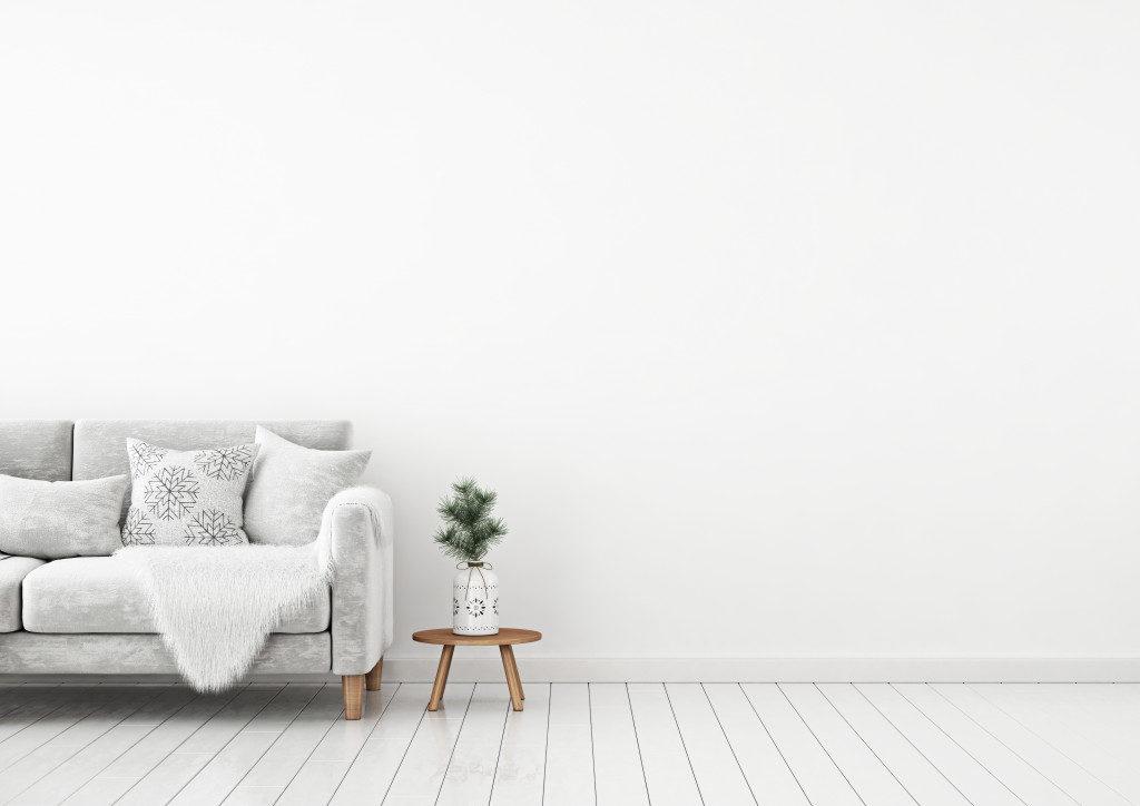 Pillows on sofa with grey theme